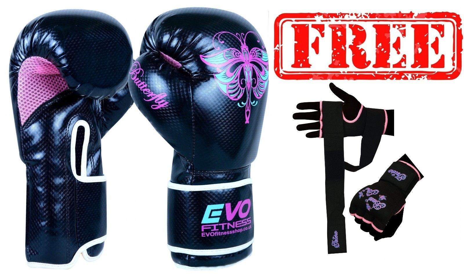 EVO Fitness Black Boxing hand wraps MMA Martial Arts Muay Thai Kick Boxing Martial Art