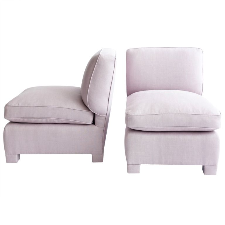 Marvelous Pair Of Slipper Chairs Attributed To Billy Baldwin