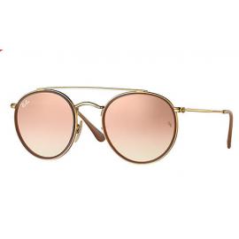 13c11866ba6c8 Ray Bans RB3647N Round Double Bridge sunglasses – Gold Frame   Copper  Gradient Flash Lens