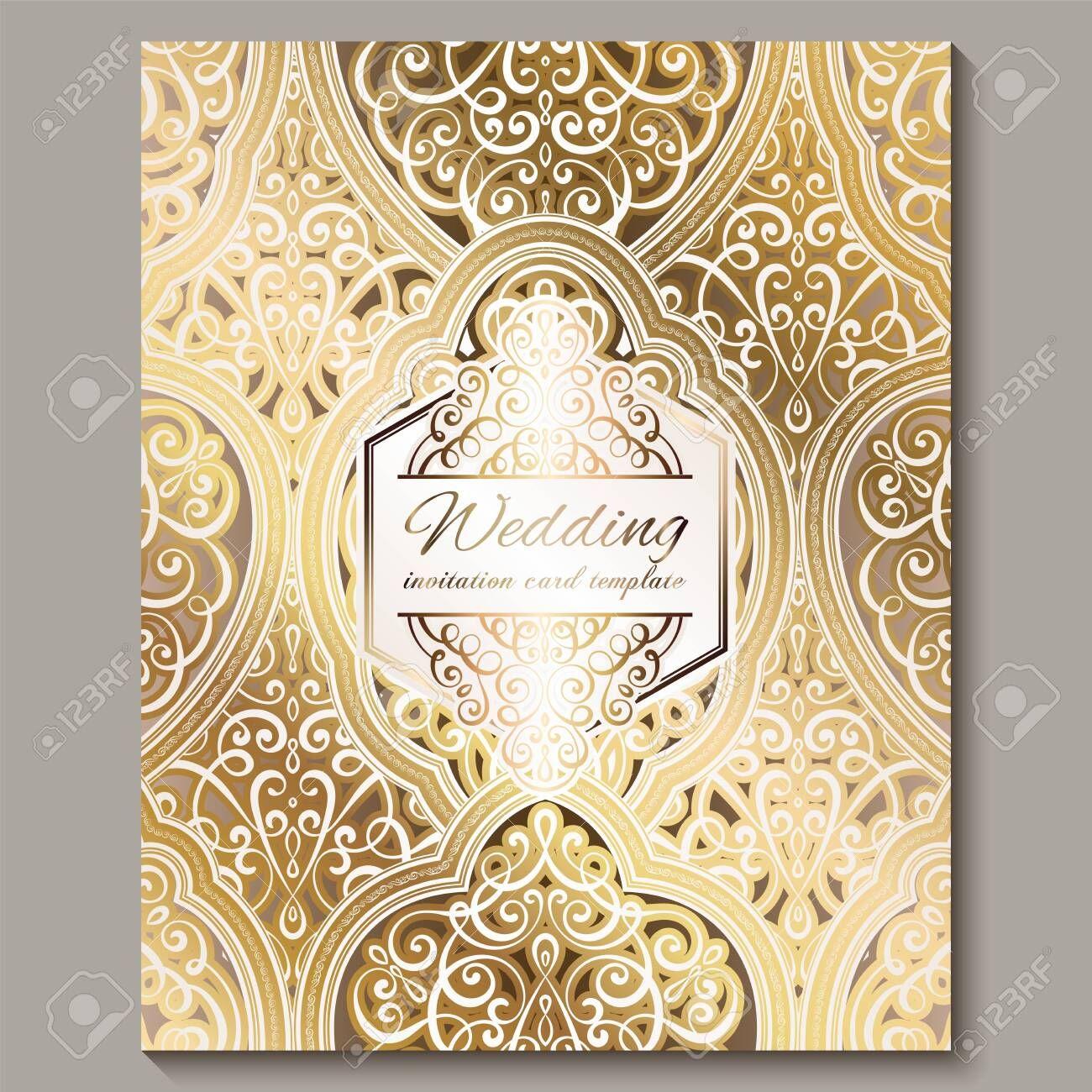 Wedding Invitation Card With Gold Shiny Eastern And Baroque Rich Foliage Ornate Wedding Invitation Card Template Wedding Invitation Cards Wedding Invitations