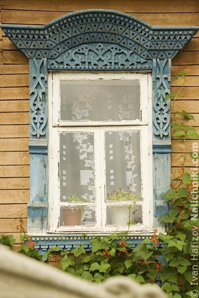 Old carved wooden window from small town Myshkin, Yaroslavl oblast.