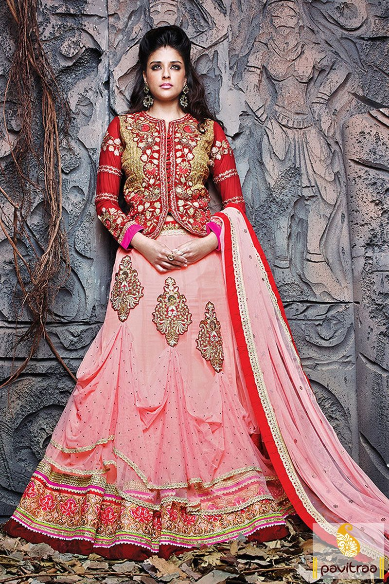 The fine looking maroon and light pink jacquard georgette bridal ...