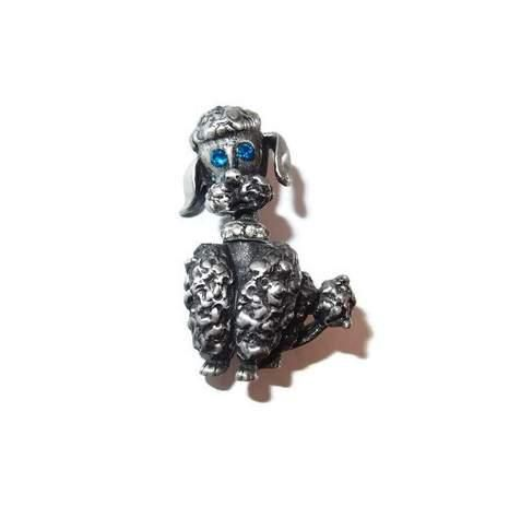 Designer Black Poodle Figural Pin with Rhinestone Accents