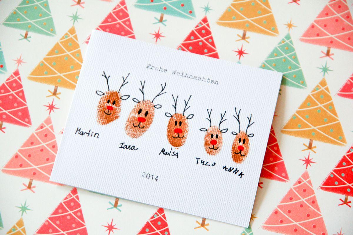 weihnachtskarten basteln mit finger und farbe advent mit. Black Bedroom Furniture Sets. Home Design Ideas