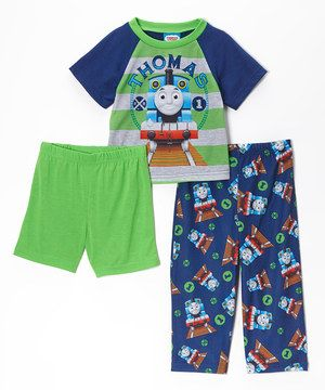 beb05f1f2 Another great find on  zulily! Blue   Green  Thomas  Pajama Set ...