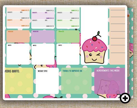 Cute Weekly School Planner - Cupcakes || Organisation / Learning ...