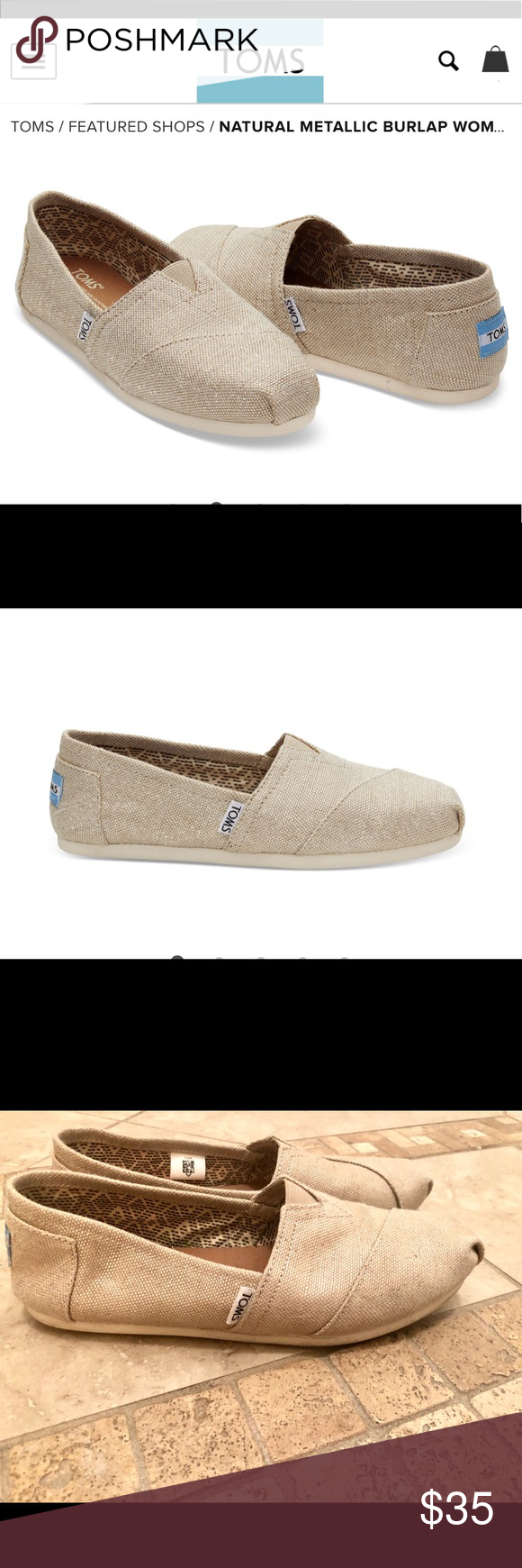 cbb45d513fa TOMS Classic Natural Metallic Burplap Shoe 8W! TOMS Natural Metallic Burlap Women s  Classics 8W!