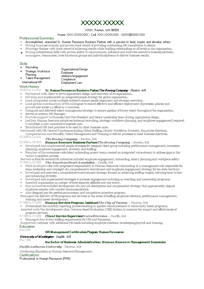 Hr Business Partner Resume How To Create A Hr Business Partner