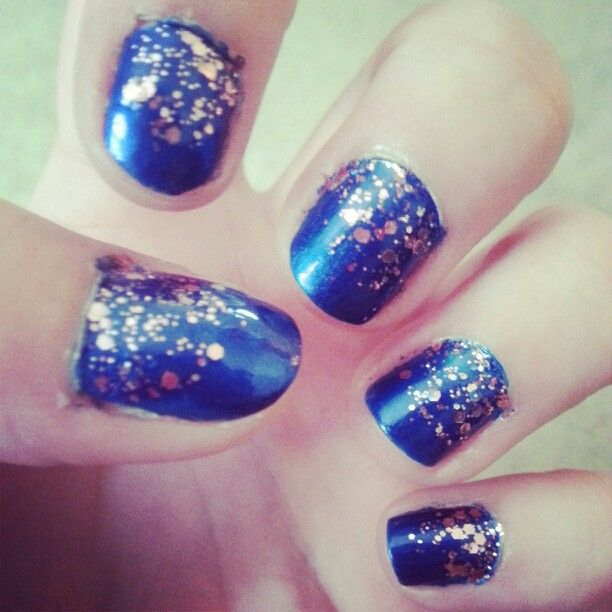 My nails that I did earlier this week! Cobalt blue with pink glitter ...