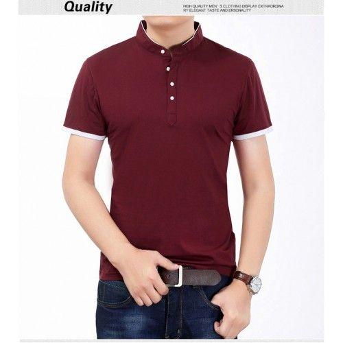 Slim Fit Short Sleeve T Shirt Men Mandarin Collar in Dark Red ...