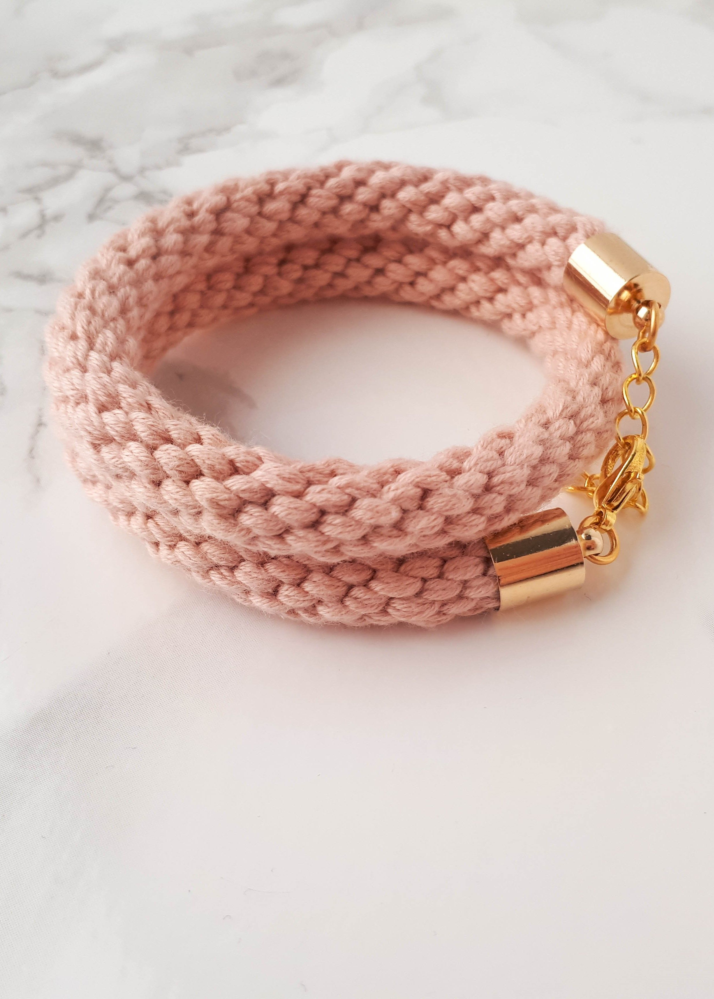Pink wrap bracelets for women pink rope bracelet blush bracelet