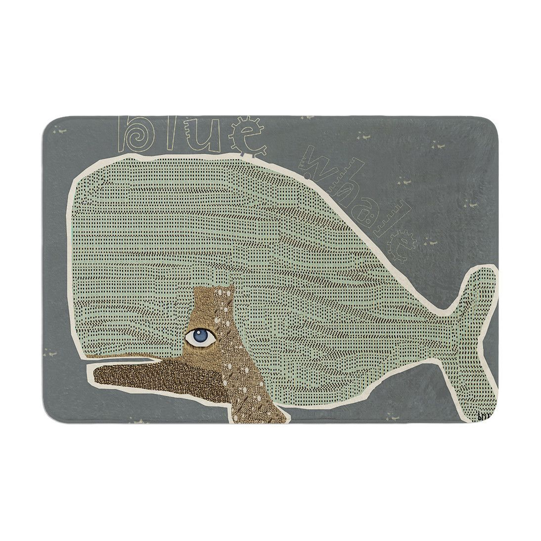 Bri Buckley Blue Whale Blue Green Memory Foam Bath Mat Kess