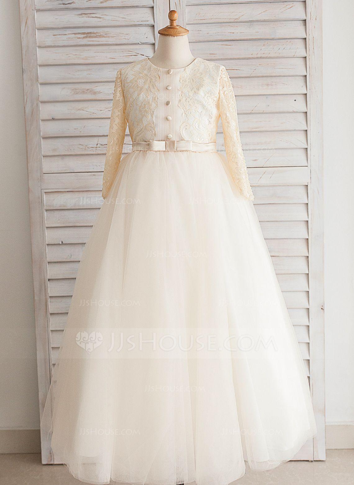 5972769b5b0a Ball Gown Floor-length Flower Girl Dress - Satin Tulle Lace Cotton ...