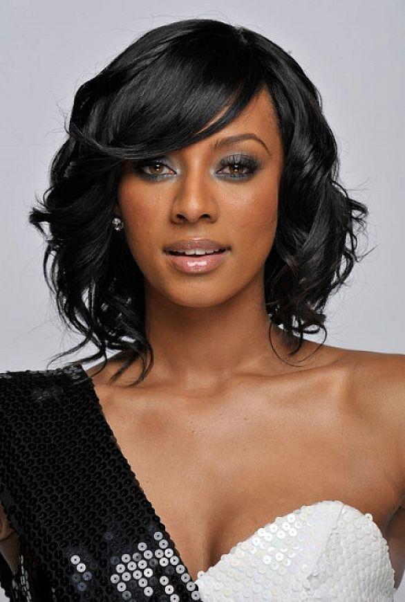 Medium Black Hairstyles For Round Faces Hair Pinterest Medium