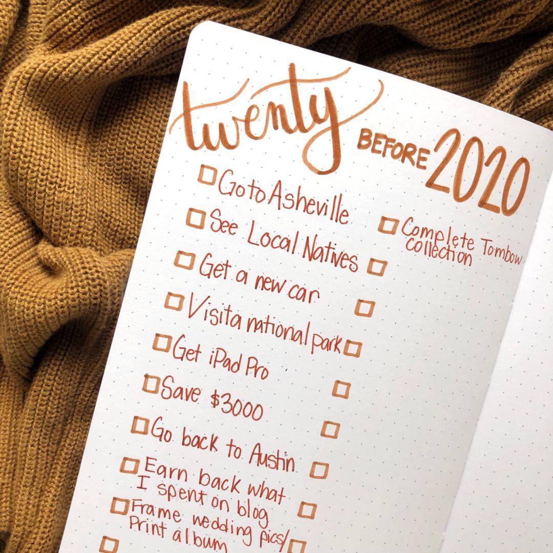 20 Before 2020 #bulletjournal #bujo #goalsetting
