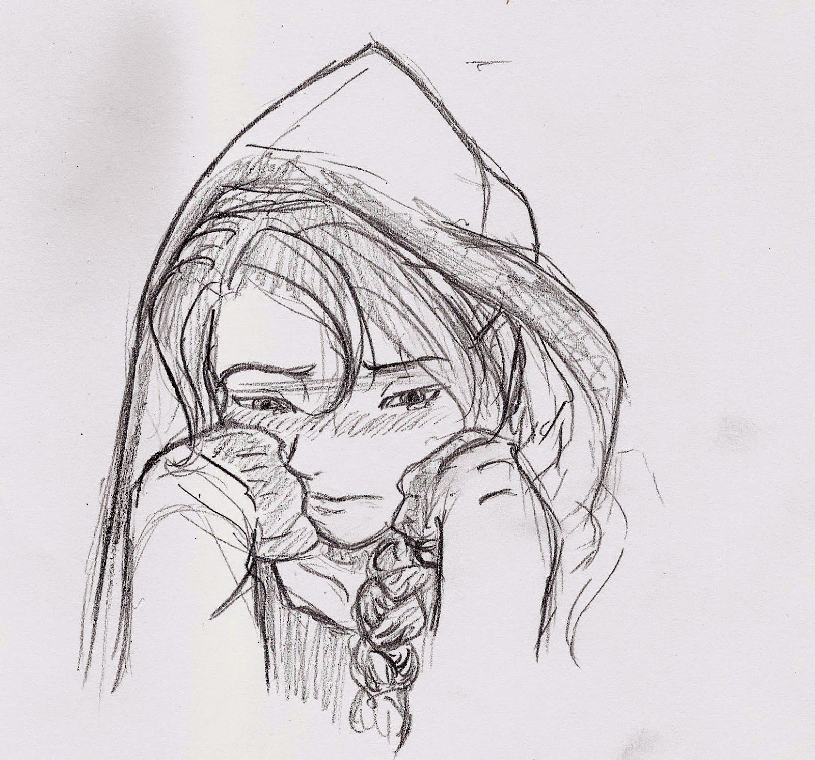 Pencil sketch of girl with hoodie