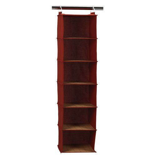 e51448a3841f6 Nice Household Essentials 6-Shelf Hanging Closet Organizer, Dark Red Canvas  with Bamboo Accents