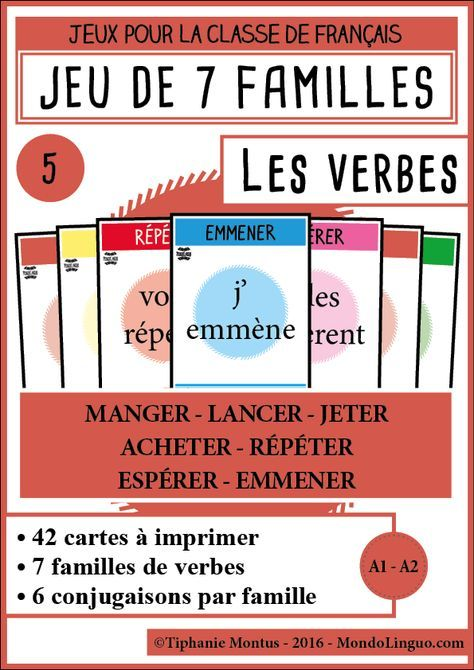 7f Les Verbes 5 Mondolinguo Francais France Classe De Francaise Conjugaison