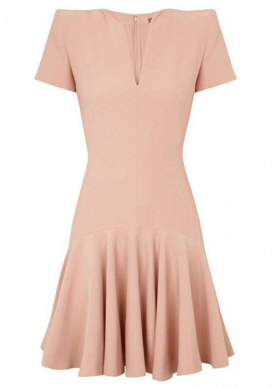 Pink Zipper Falbala V-neck Short Sleeve Cotton Dress