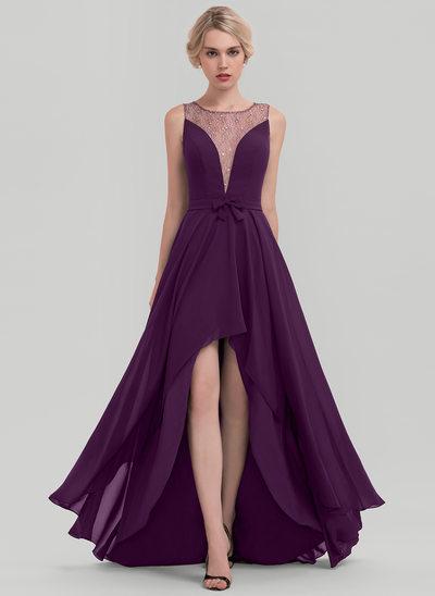 Photo of [€ 107.00] A-Line Scoop Neck Asymmetrical Chiffon Dress …