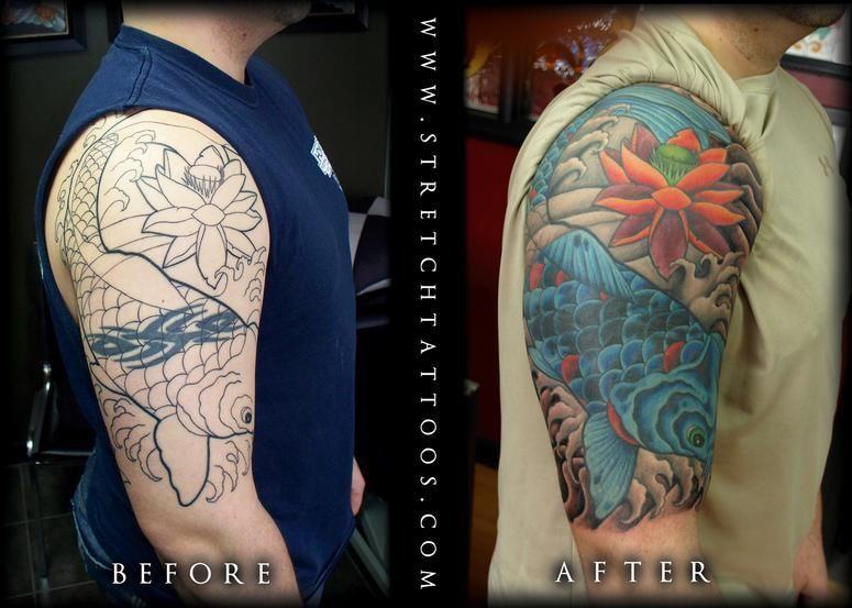 Tattoos Stretch Koi Half Sleeve Cover Up Melhores Tatuagens No Ombro Tatuagem Coberta Tatuagem De Cobra