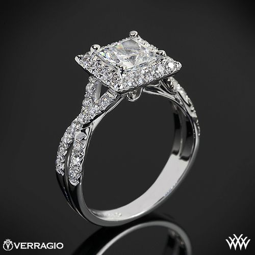 ahhhhhh........beautiful  This Diamond Engagement Ring is from the Verragio Couture Collection. It  features 0.45ctw of Round Brilliant Diamond Melee (F/G VS) that enhance the princess, radiant or a square diamond center of your choice. The width tapers from 5.3mm at the top down to 2.5mm at the bottom.