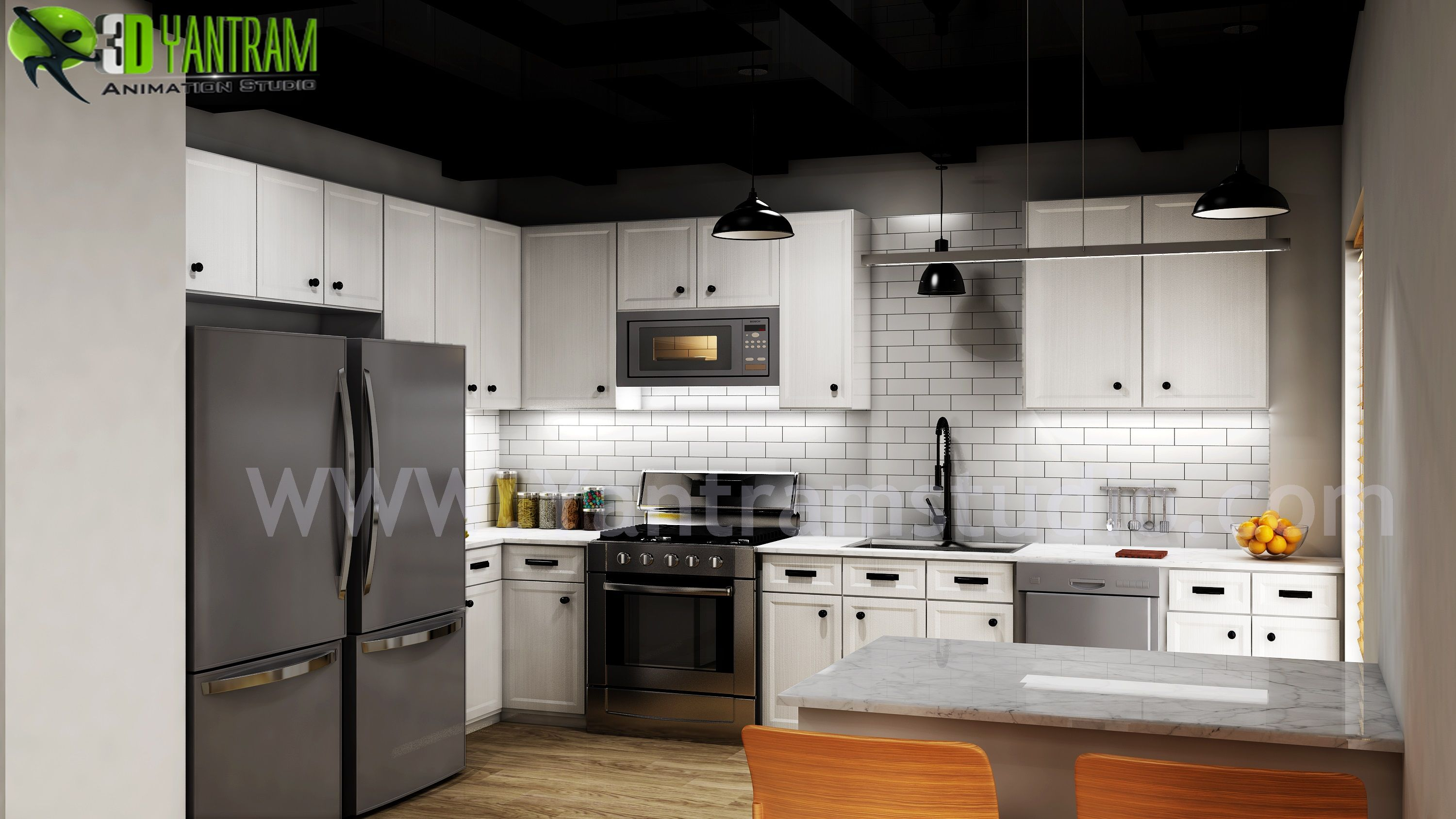 Modern Small Kitchen Design Ideas By Yantram 3d Interior Rendering