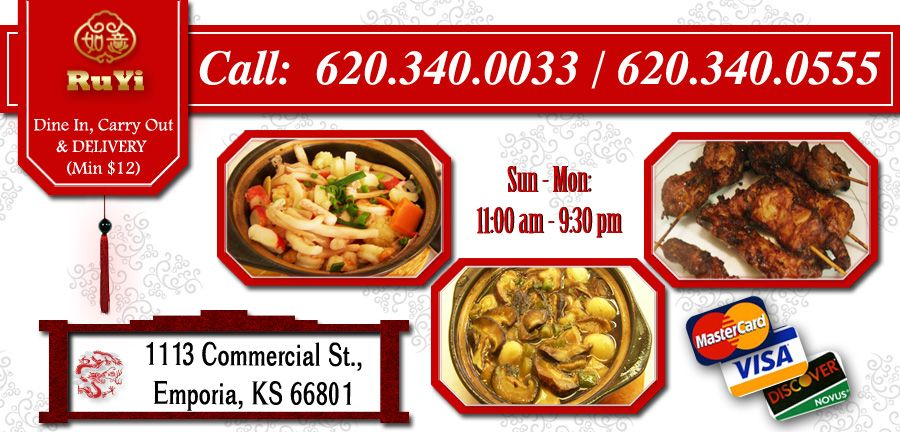 Ruyi Restaurant Emporia Ks 66801 Menu Chinese Online Food Delivery Catering In Emporia With Coupon Discount Online Food Food Food Delivery