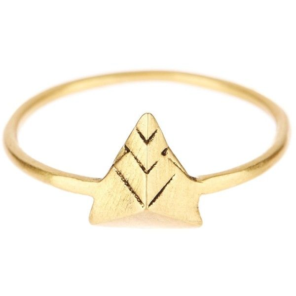 Dogeared 14K Gold Plated Sterling Silver Isis Pyramid Ring (€18) ❤ liked on Polyvore featuring jewelry, rings, no color, sterling silver jewelry, gold plated sterling silver ring, gold plated jewelry, 14 karat gold ring and sterling silver rings