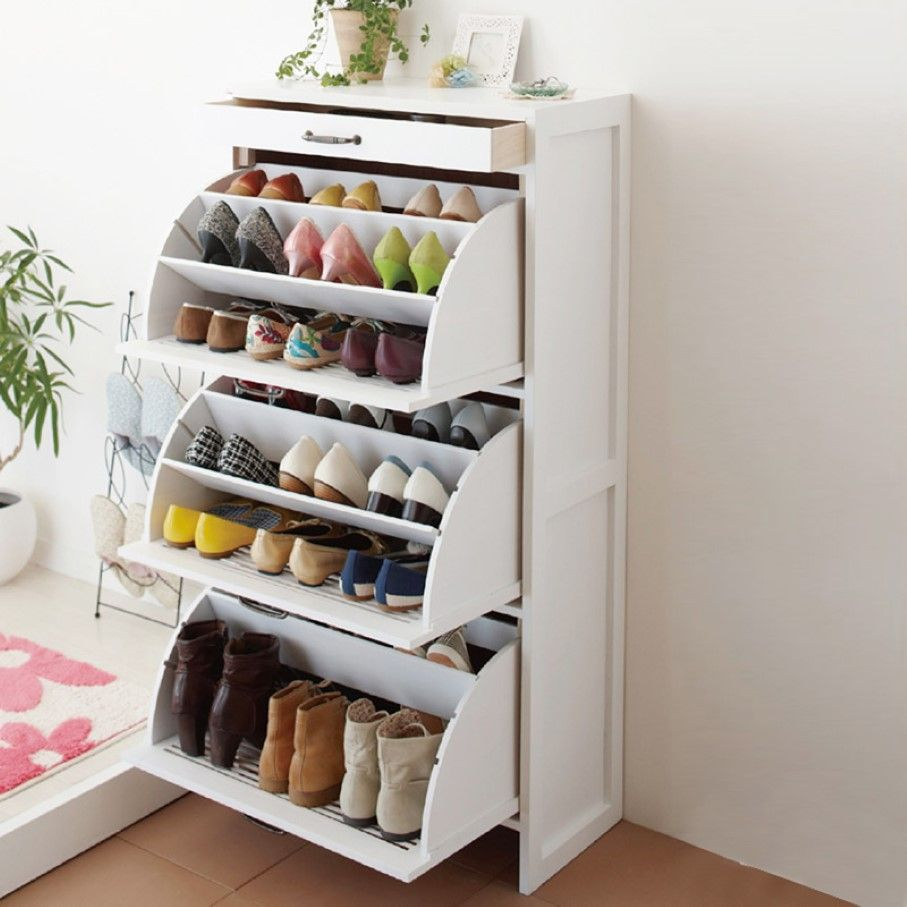 Furniture Furnishing Cute Shoe Cabinet With Tiered Rack Organizers Idea Feat Pull Out Drawer And Cool Potted Ivy Plant Decor Using Useful
