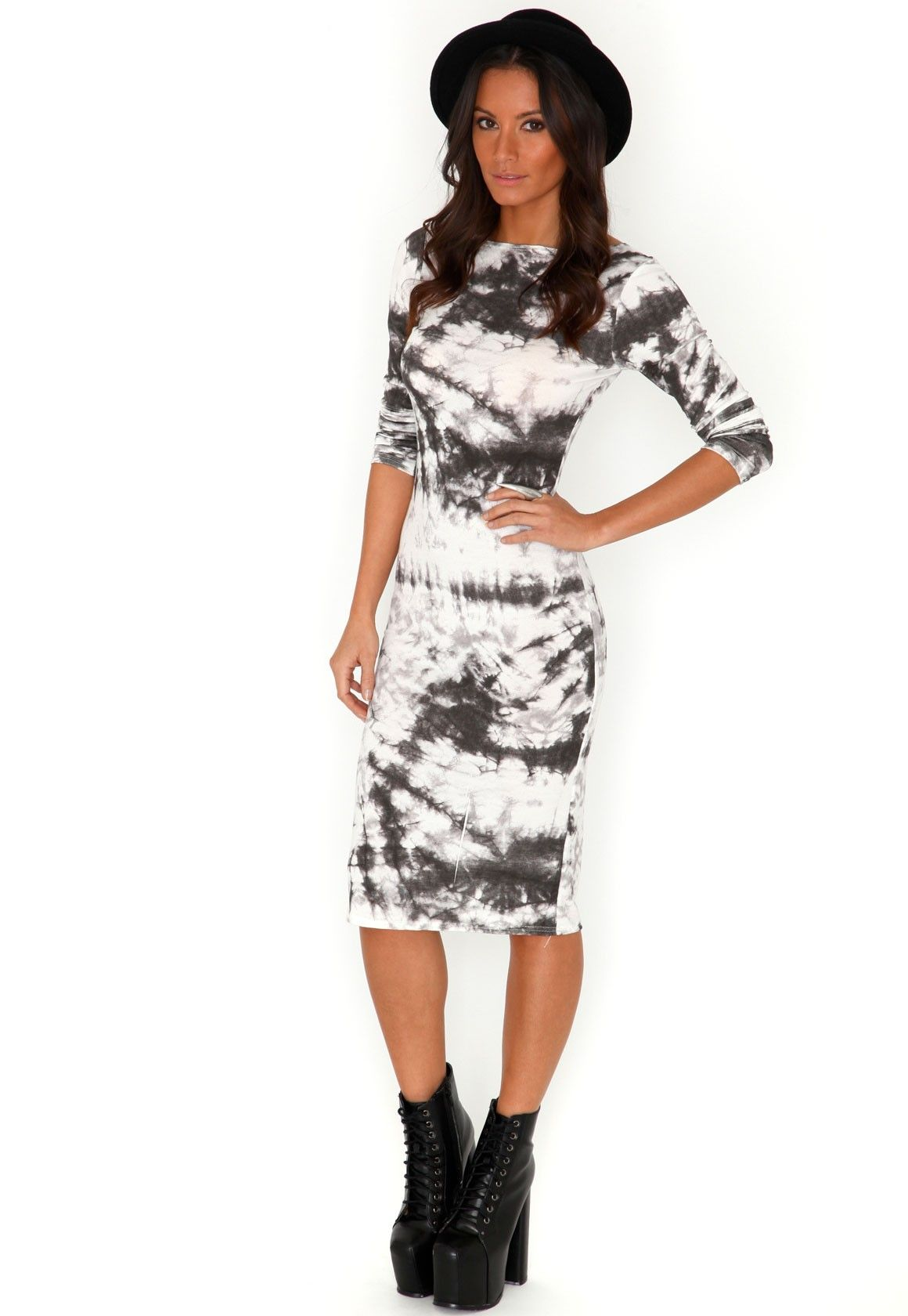 Meliora Tie Dye Bodycon Midi Dress In Grey