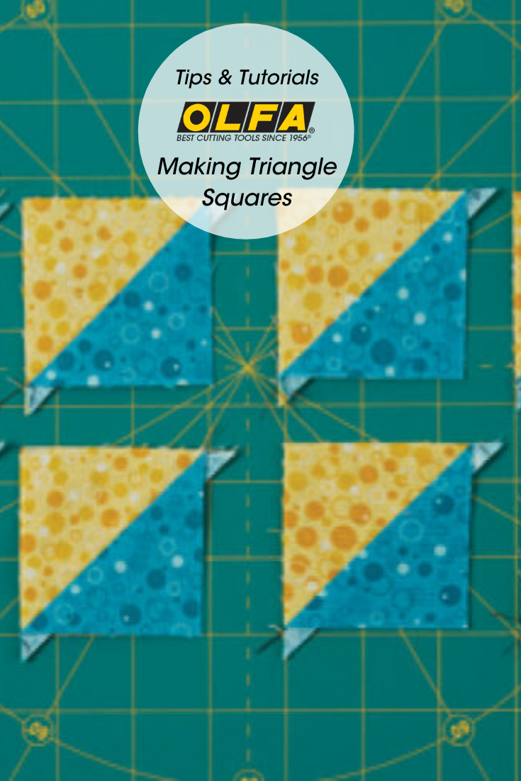 How To Make 8 Identical Triangle Squares Olfa Craft In 2020 Triangle Square Olfa Quilting Tips