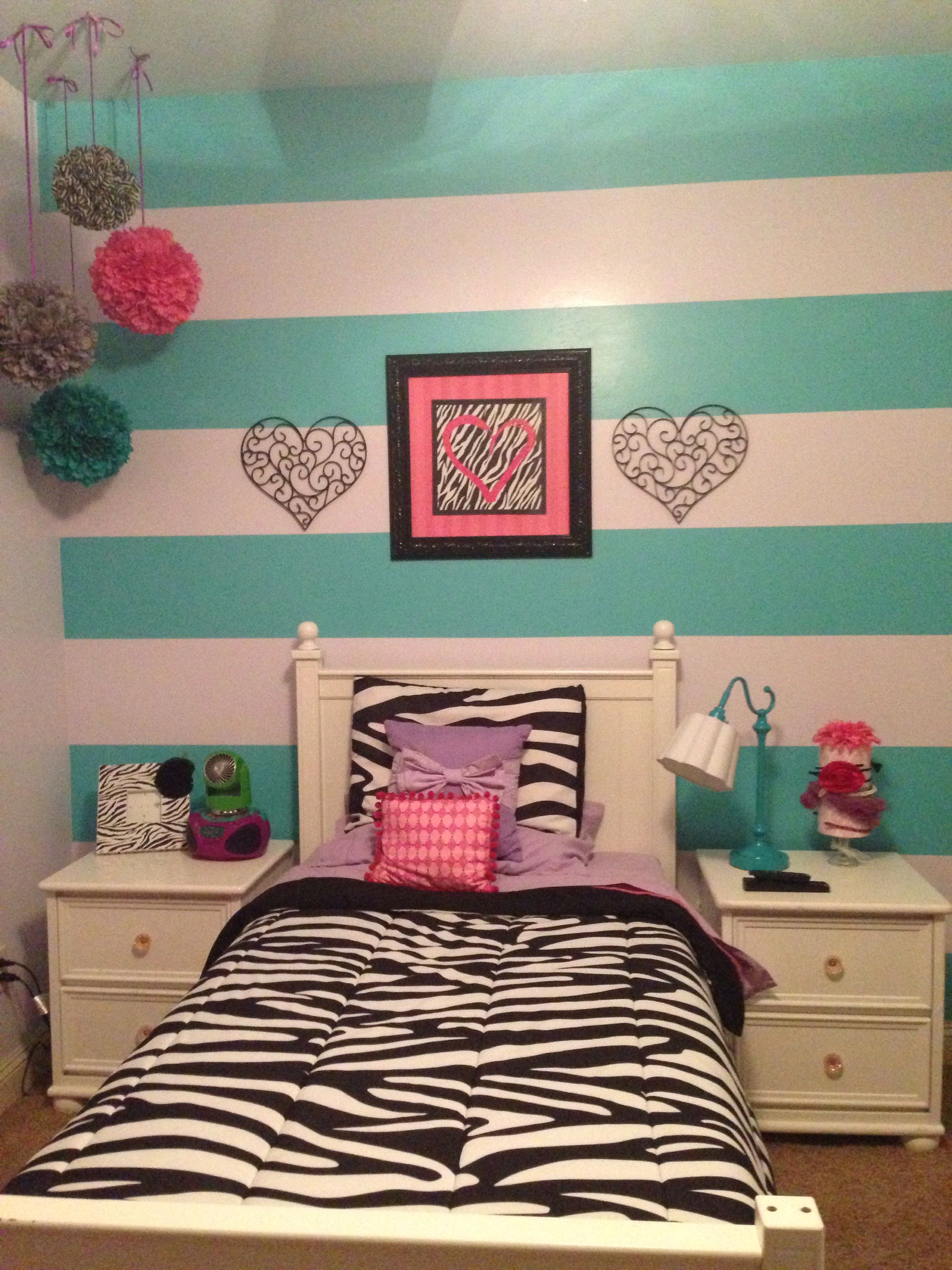 Zebra Print Purple Pink Teal Gray Big Girl Tween Bedroom