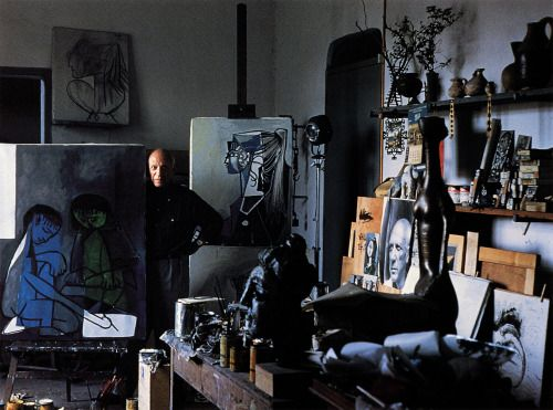 """patrickhumphreys: """" Pablo Picasso in his studio in Mougins in the South of France, 1965. Photo by Alexander Liberman. """""""