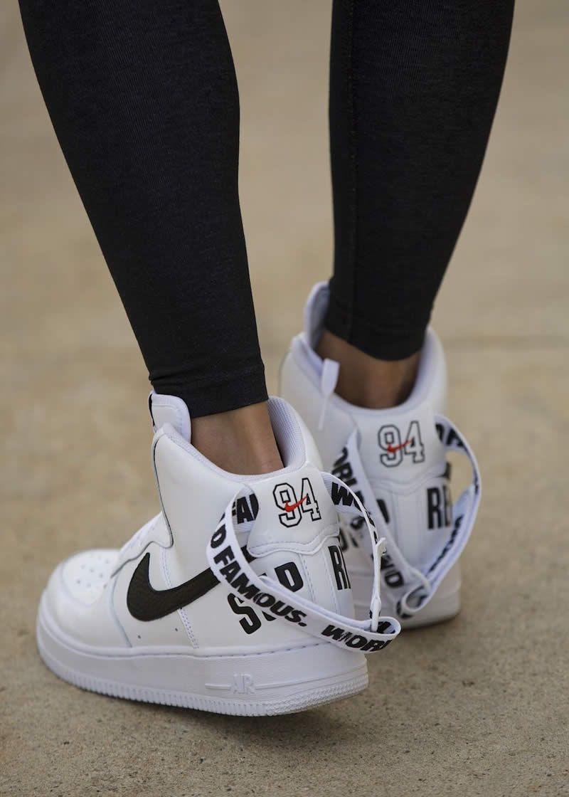 Supremee X Nike Air Force 1 High Sp World Famous 94 White Black 698696 100 On Feet Www Anpkick Com Nike Shoes Women Nike Nike Shoes Outlet