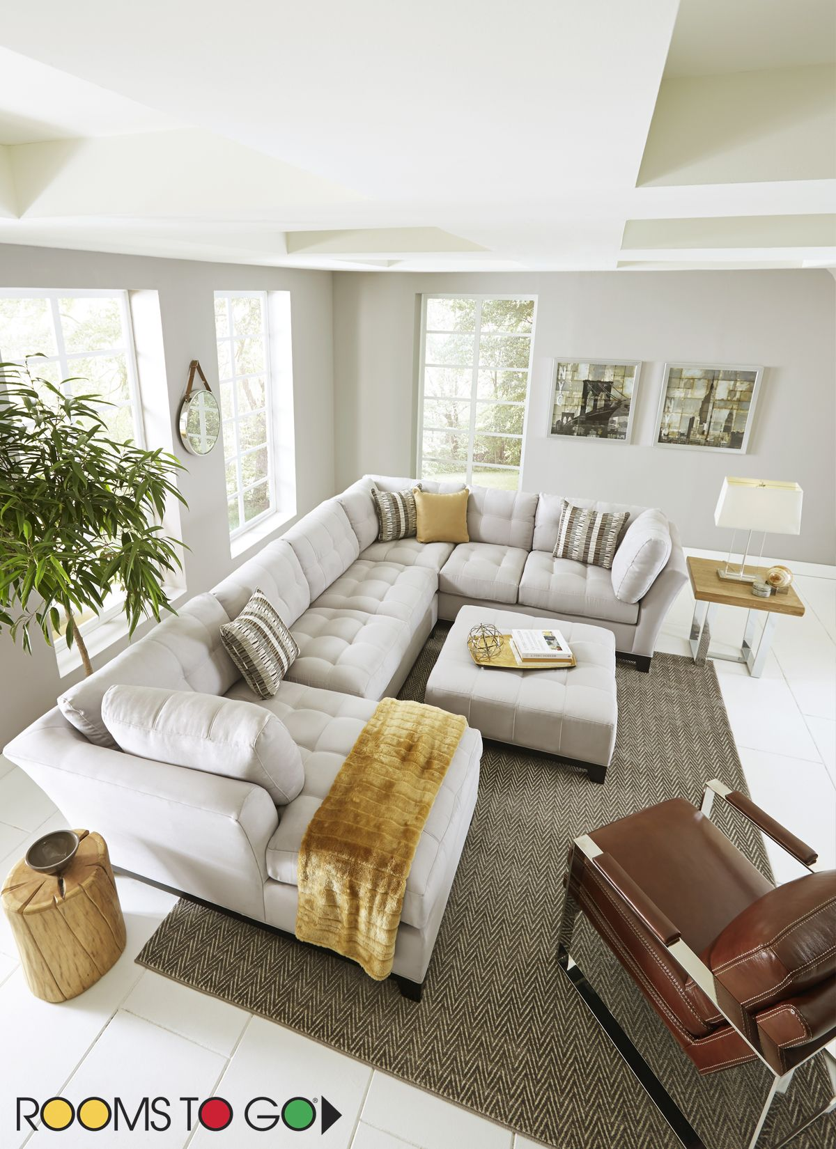 Cindy Crawford Home Metropolis Platinum 3 Pc Sectional