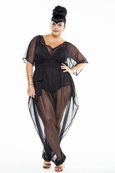 a72b7b4e6f99 15 Plus Size Cover Ups  Bat Wing Sheer Plus Size Poolside Jumpsuit