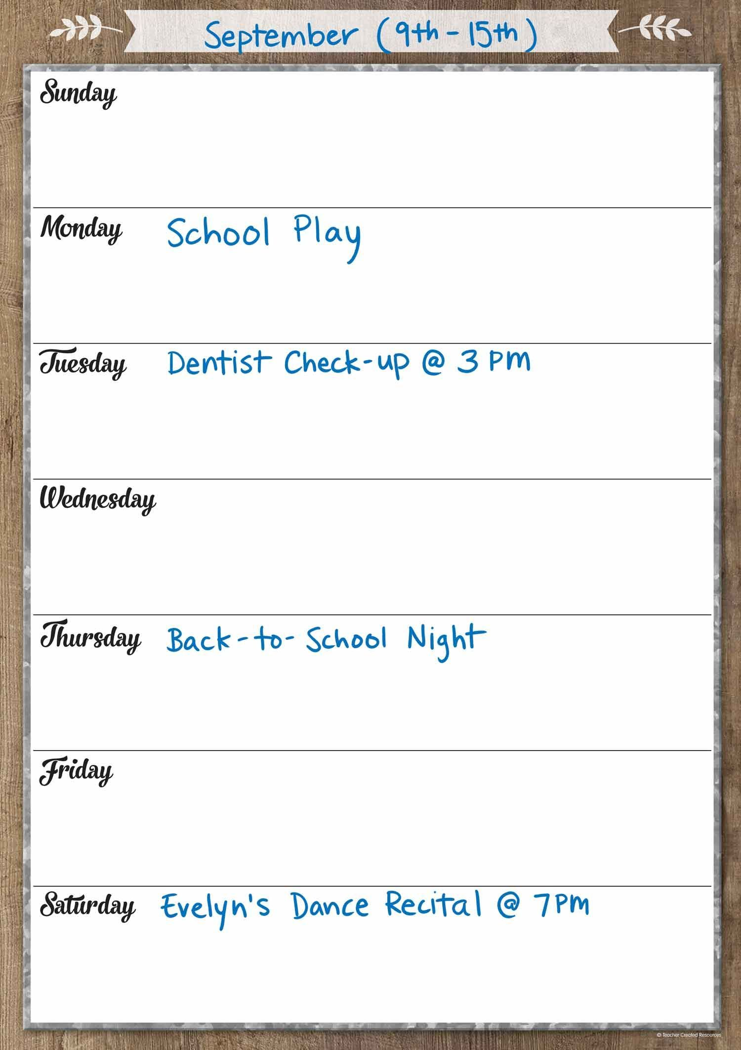 Keep track of your daily and weekly activities with the Home Sweet Classroom Clingy Thingies® Week