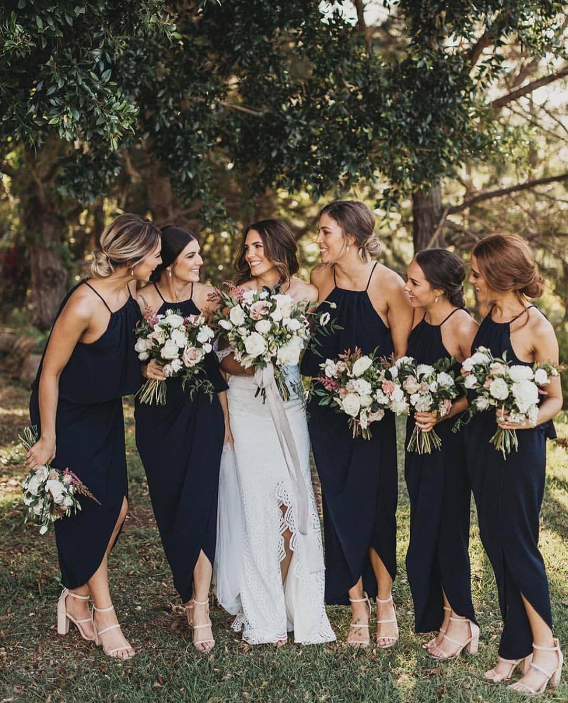 Simple Formal Black Halter Tea Length Bridesmaid Dress Summer Bridesmaid Dresses Black Bridesmaid Dress Summer Black Bridesmaid Dresses [ 1337 x 1080 Pixel ]