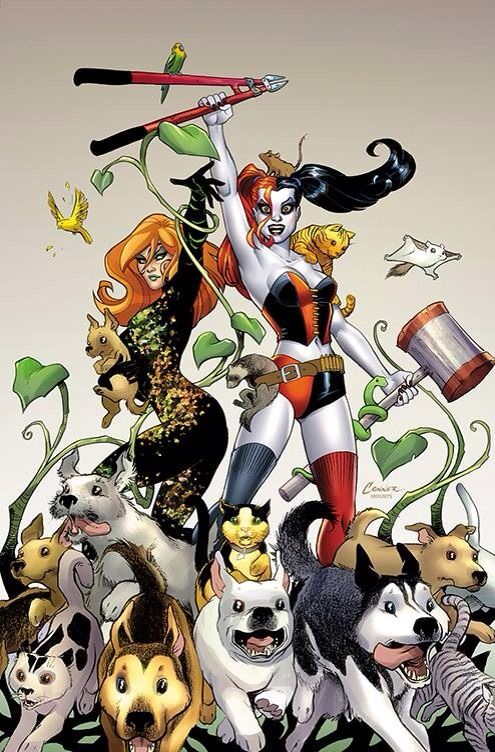 Harley Quinn and Poison Ivy by Amanda Connor. For the ANIMALS!!!!!