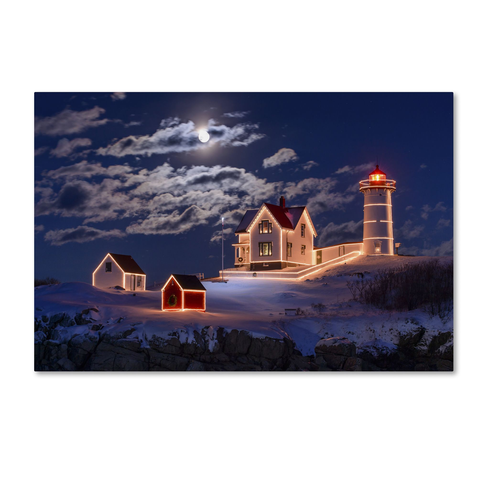 Michael Blanchette Photography \'Moon over Nubble\' Canvas Art | Maine ...