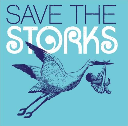 Pro Life T-shirt. On the Front: Save The Storks  Back: 50 Million Storks Shot Down Since 1973