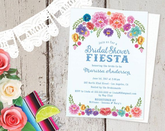 Mexican Fiesta Theme SpringSummer Floral Bridal Shower – Spanish Party Invitations