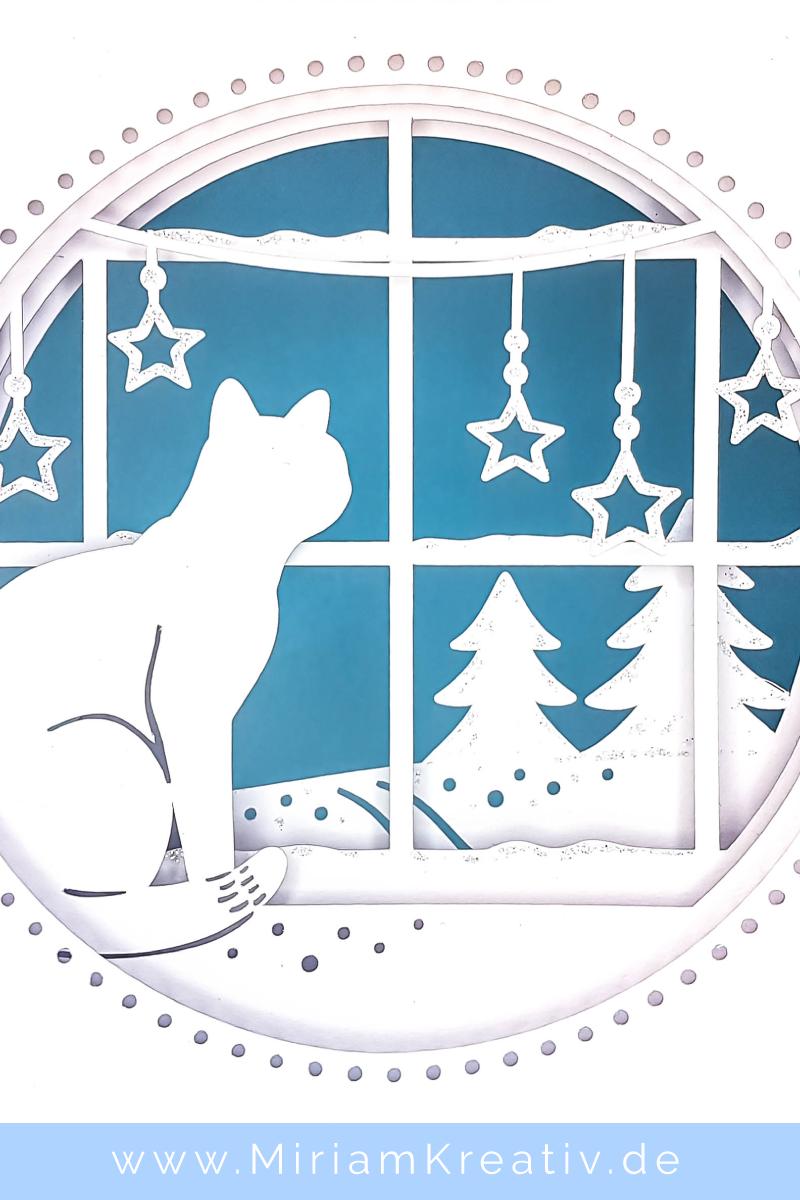 Tunnelkarte Katze Am Winterfenster Miriamkreativ De Karten Papier Kunst Und Handwerk Weihnachtskarten