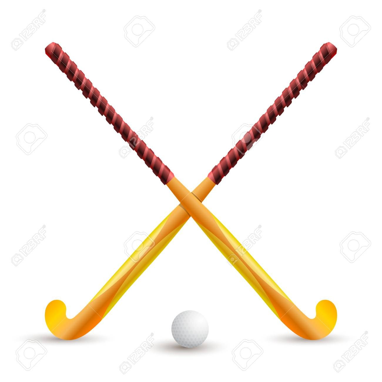 Field Hockey Sports Supplies For Playing On A White Background Hockey Stick And Ball Crossed Sticks For Hockey Web Design Trends Hockey Stick Field Hockey
