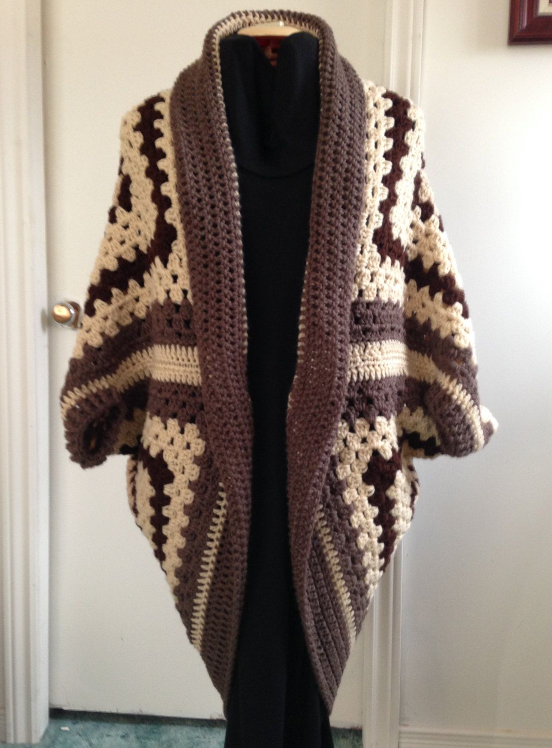 Crochet Granny Square Cocoon Sweater Cardigan Shrug in Brown and ...