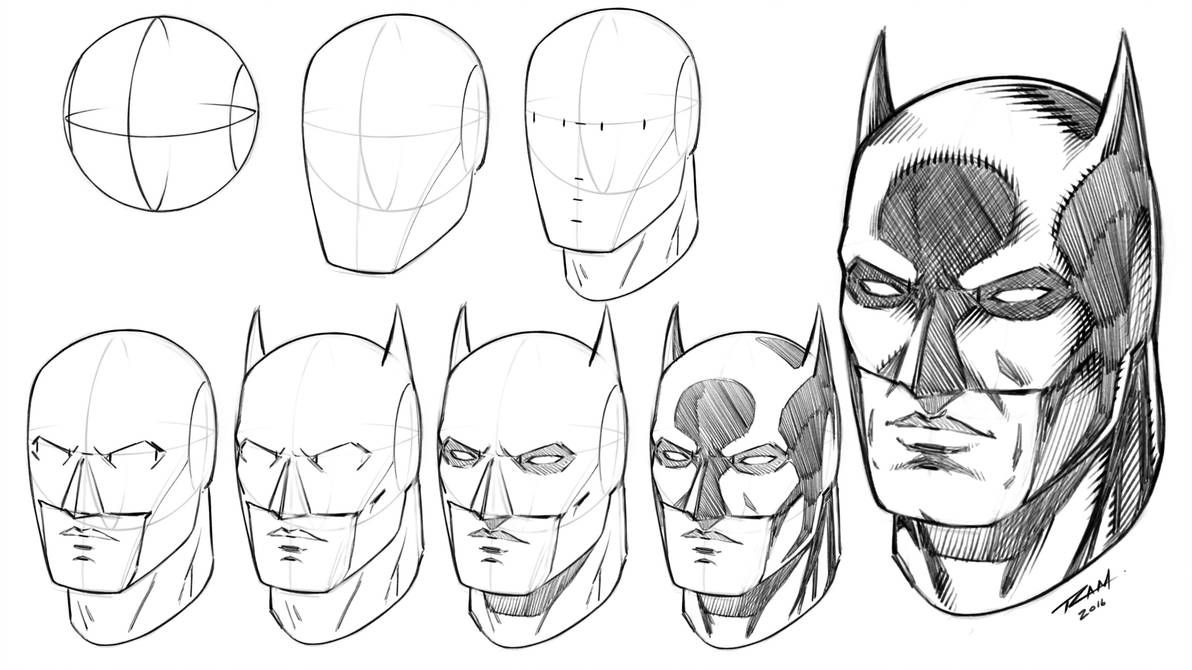 Batman Mask How To Draw Step By Step Tutorial By Robertmarzullo Como Dibujar A Batman Como Dibujar Superheroes Arte Del Comic De Batman