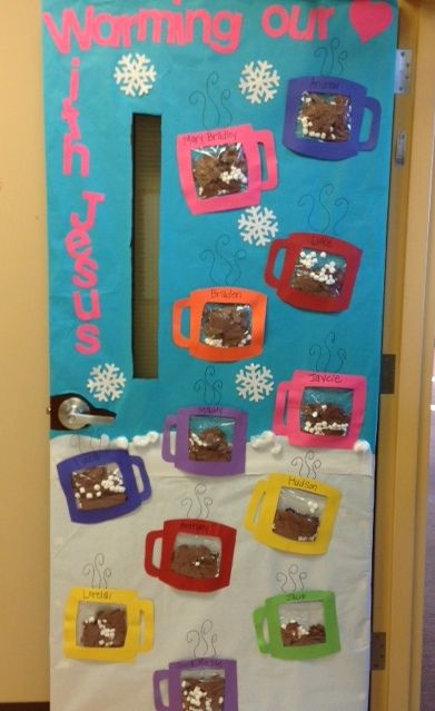 January Classroom Decor ~ Door decoration when completed and story is written