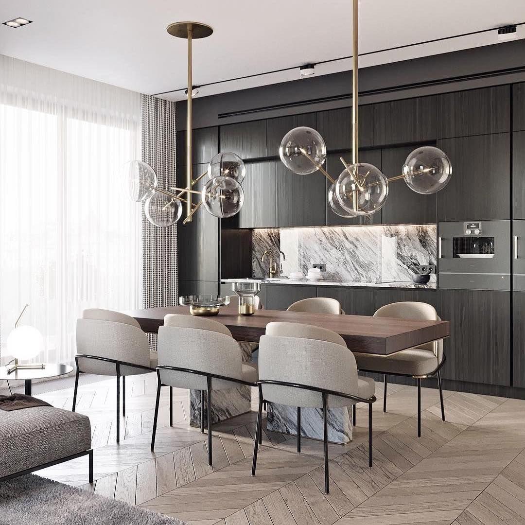 Browny Flat St Petersburg By Tolkointeriors Dining Room  # Table Tel En Boi Simple