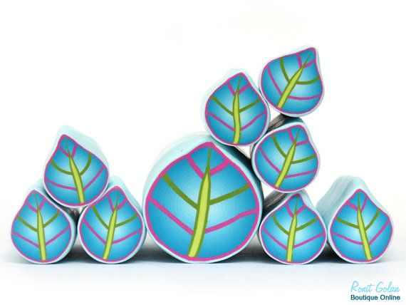 Blue Leaf Cane , Purple , green and light blue Polymer clay millefiori Leaf cane, raw and unbaked fimo polymer clay cane